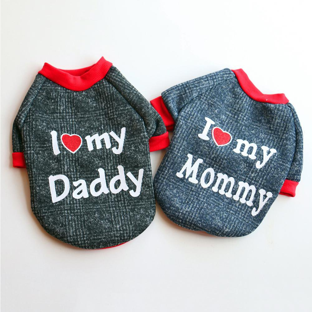 I Love Daddy Mommy Pet XS-L Sweatshirt Puppy Dog Cat Shirt Top Letter Pullover Winter Warm Clothes