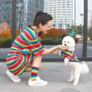 Matching Rainbow Pet People Tops Clothes XS-2XL Puppy Dog Kitten Cat Striped Cool Shirt Clothing