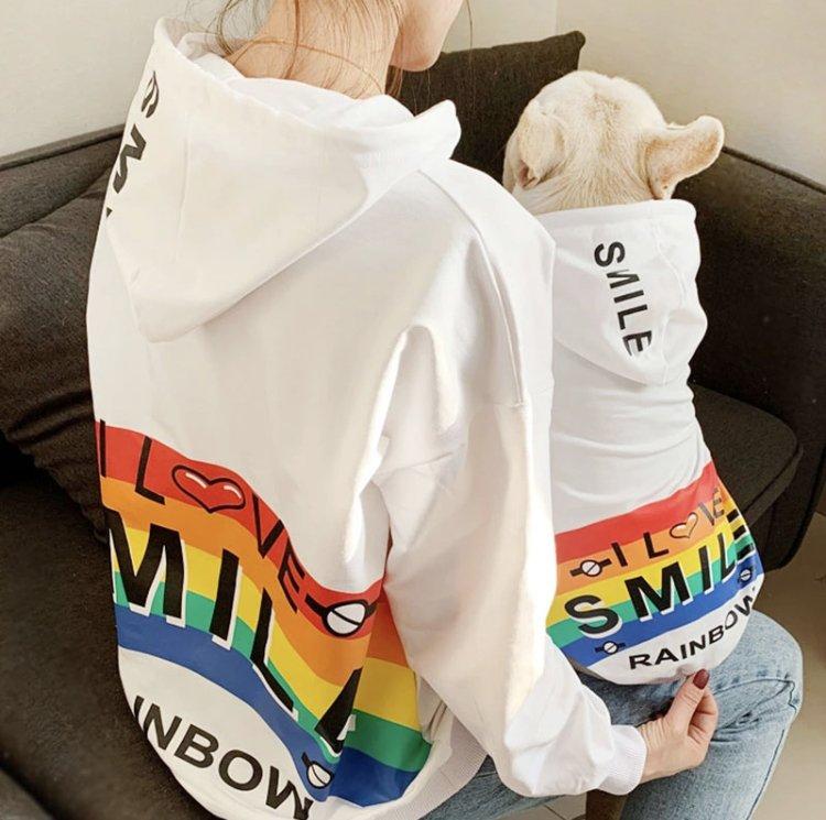 I Love Smile Rainbow Matching Hoodies Leisure Design Pet Parent Dog Family Clothes Sweatshirt