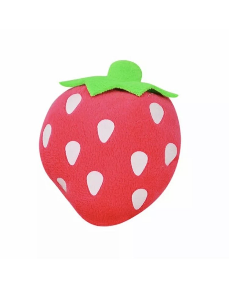 Plush Squeaky Strawberry Pet Chew Toy Squeaker Sound Fruit Ball Puppy Dog Fetch Interactive Toys