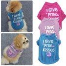 I Give Free Kisses Pet T-Shirt XS-L Puppy Dog Cat Vest Letter Print Summer Apparel Pets Clothes