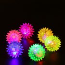 Spikey LED Flashing Glowing Rubber Ball Hedgehog Puppy Dog Cat Pet Training Squeaky Sound Chew Toy