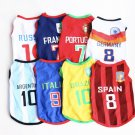 Soccer Futbol Sport Pet Jerseys XS-6XL Puppy Dog Kitten Cat Countries Teams Clothes