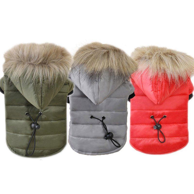 Furry Hood Padded Pet Jacket XS-XL Hoodie Puppy Dog Kitten Cat Warm Coat Jacket Winter Clothes