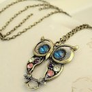 Owl Pendant Colorful Women's Sterling Silver Long Chain Animal Fashion Necklace