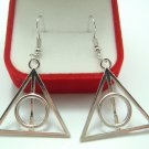 Harry Potter Deathly Hollows Plated Hook Earrings Retro Vintage Women's Fashion Fantasy Jewelry
