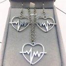 electrocardiogram Heart beat Heart Korean fashion charm Popular Earrings Necklace Jewelry Set