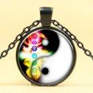 Seven chakras yin yang Taiji Cabochon black Glass Chain Pendant Handmade Necklace