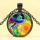 Seven chakras yin yang Taiji Cabochon black Glass Chain Pendant Necklace