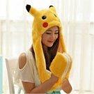 Pikachu Long Animal Hood Hat Scarf Pocket Kids Teens Adults Winter Soft Rave Hoodie Snood Cap