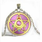Silver Chain Anime Sailor Moon Jewelry Glass Dome Cabochon Pendant Necklace Jewelry