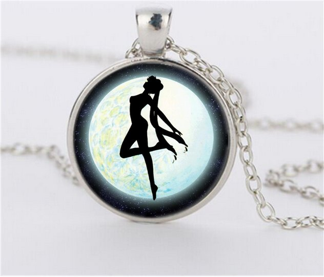 Silver Anime Sailor Moon Handmade Cabochon Glass Jewelry Glass Dome Pendant Necklace