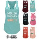 Installing Muscles S-5XL Fitness Womens Letter Print Sleeveless Crew-Neck Tops Casual Raceback Tank