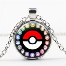 Vintage Pokemon Pokeball All Characters Cabochon Glass Pendant Silver Chain Necklace Unisex Jewelry