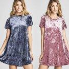 Plush Velvet T-Shirt Dress S-L Boho Tunic Flare Shift Short Sleeve Blue Pink Apparel