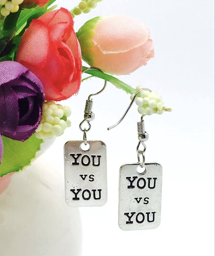 You Vs You Charm Earrings Fitness Weightlifting Gym Crossfit Workout Fashion Jewelry