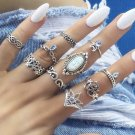10Pcs Set Retro Rings Silver Boho Fashion Gem Moon Midi Finger Knuckle Rings Festival Jewelry