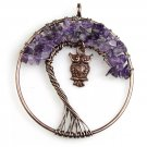Natural Amethyst Chip Beads Crystal Chakra Healing Tree Of Life Copper Owl Round Pedant for Necklace