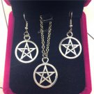 Pentagram Earrings Necklace Set Pendant Charm Five-pointed Star Wicca Goth Punk Accessories Jewelry