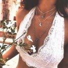 Multi-layer Moon Stone Pendant Necklace Boho Long Chain Choker Festival Style Women's Jewelry