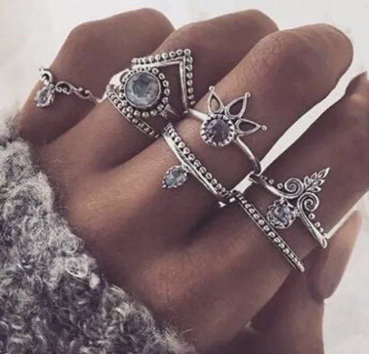 8pc Rings Set Boho Festival Fashion Silver Gold Arrow Gemstone Midi Finger Knuckle Ring Jewelry