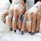 8Pcs Ring Set Boho Festival Fashion Tibetan antique natural stone turquoise midi rings jewelry