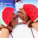 Plush Watermelon Fingerless Gloves Sweet Cartoon Fruit Style with Rope Rave Winter Warm Accessories
