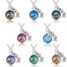 Mermaid Rose Fish Scales Pendant Necklace Rainbow Shiny Holographic Charm Jewelry