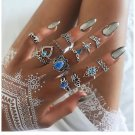 13pcs Mujer Blue Crystal Turtle Finger Rings Knuckle Midi Ring Sets Boho Festival Style Jewelry