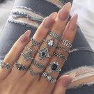15 Pc Ring Set Black Sapphire Boho Festival Fashion Rings Stack Midi Ring Finger Jewelry