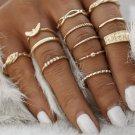 12pc Gold Ring Set Boho Festival Fashion Hippie Gypsy Rings Stack Midi Ring Finger Jewelry