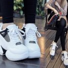Womens Platform Shoes Lace Up Creepers Space Wedge Hidden Heel Casual Sports Sneakers