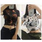 Sun Moon Graphic Print Mesh See Through Short Sleeve Crop Top Shirt Style Rave Festival Boho Fashion