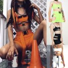 Two piece Bodysuit Playsuit Set Romper Sleeveless Crop Top Tank Shorts Rave Festival Fashion