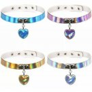 Holographic Laser Heart Pendant Choker Necklace Unicorn Mermaid Collar Rivet Rave Festival Accessory