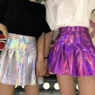 Holographic Hologram High Waist Mini Skater Skirt Bottoms Harajuku Punk Goth Rave Festival Fashion