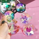 Kaleidoscope Psychedelic Round Glasses Prism Diffraction Rainbow Crystal Lens Party Rave Accessories