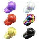 Unisex Holographic PU Leather Baseball Caps Snapback Hat Rave Festival Fashion Head Accessories