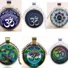 Namaste Cabochon Glass Pendant Necklace Handmade Hippie Meditation Boho Festival Fashion Jewelry