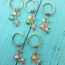 Turtle Shell Starfish Scale Keychain Holographic Pendants Colorful Rave Festival Accessories