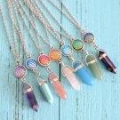 Crystal Stone Scale Pendant Necklace Gemstone Hexagonal Reiki Natural Healing Holographic Accessory