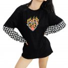 Harajuku Oversized Long Sleeve Top S-XL T Shirt Checkerboard Patchwork Graphic Tee