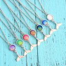 Holographic Mermaid Scale Fish Tail Pendant Necklace Accessories Rave Festival Fashion Jewelry