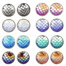 Fish Scale Mermaid Shiny Stud Earrings Holographic Rave Festival Fashion Jewelry Accessories