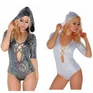 Holographic Shiny Sparkly Bodysuit S-XL Rave Festival Fashion Style Halloween Costume Hooded Jumper