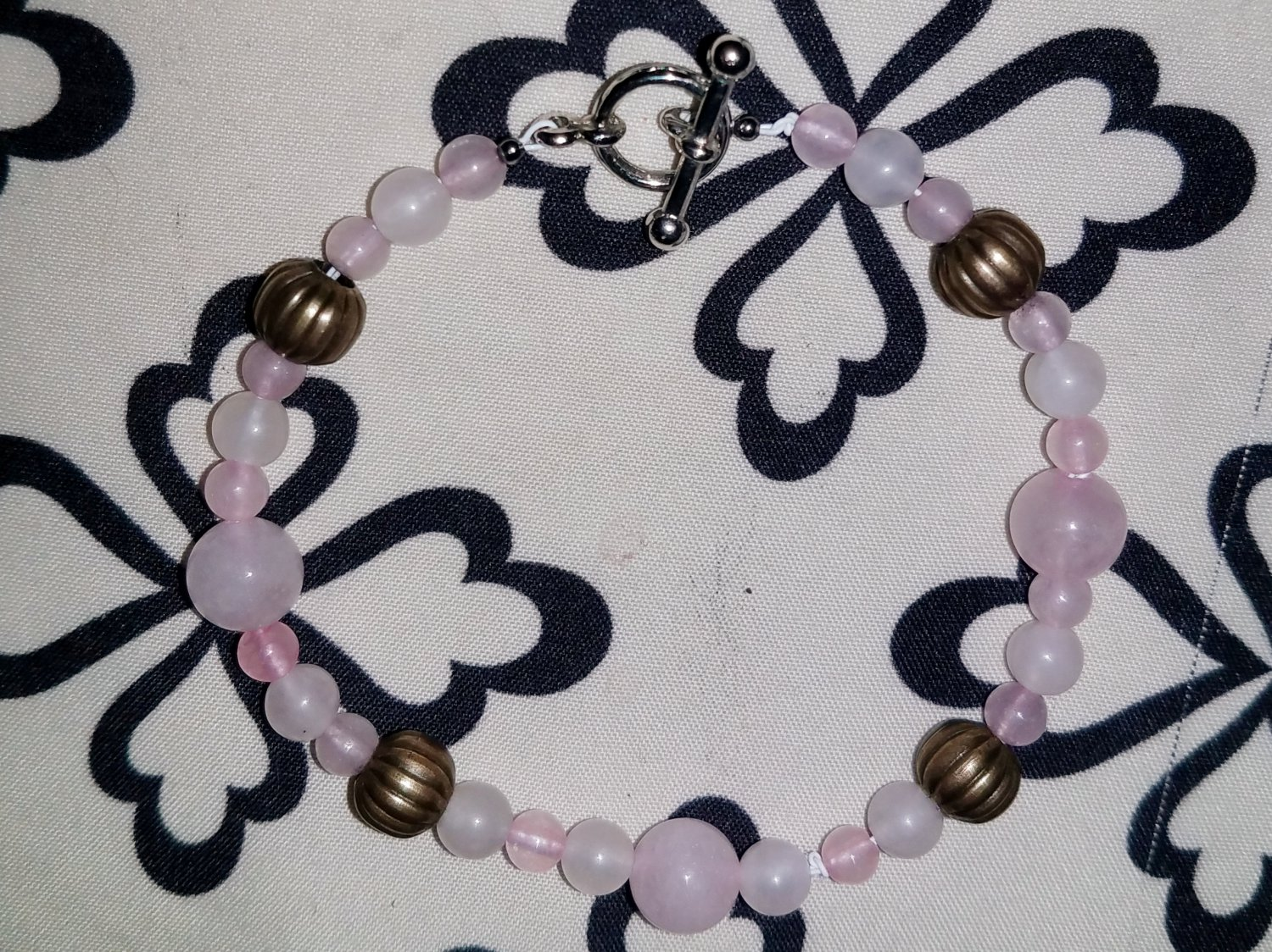 Tibetan Style Rose Quartz Beaded Bracelet