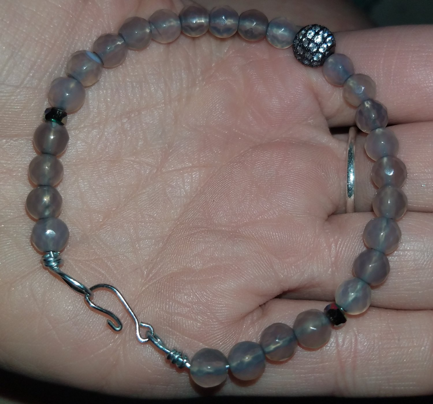 Grey Agate Beaded Bracelet With Cubic Zirconia