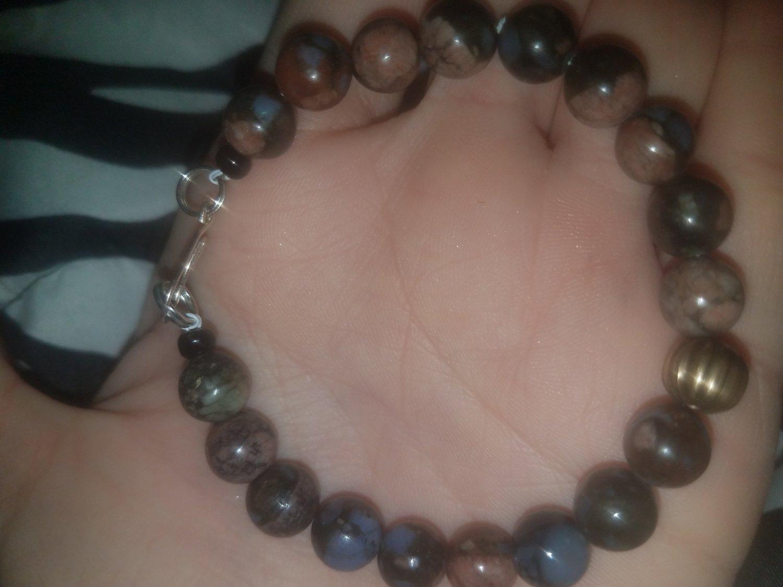 Blue African Opal Beaded Bracelet