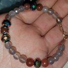 Gray Agate & Purple Aventurine Bracelet With Austrian Crystal