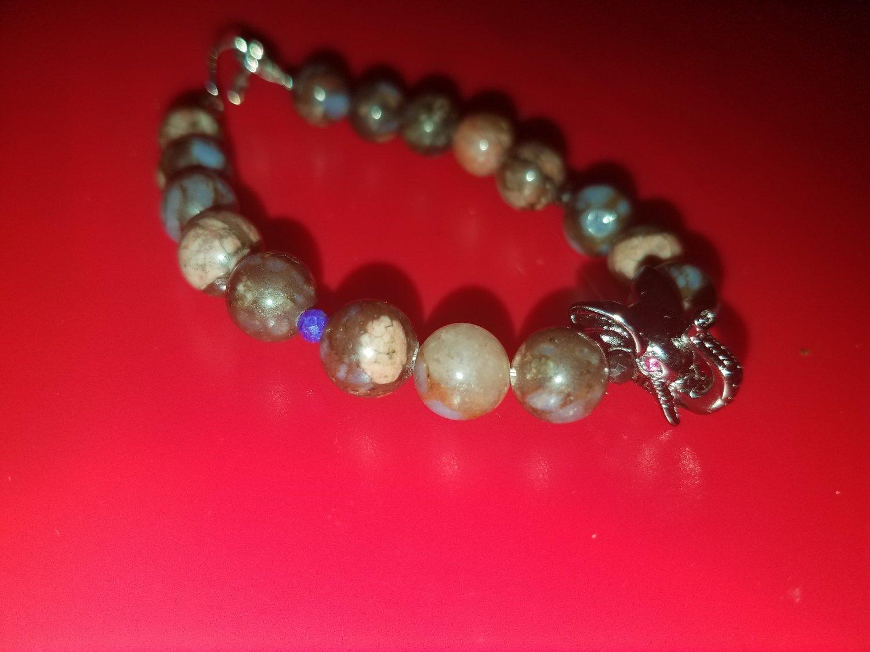 Blue/Brown African Opal Elephant Bracelet